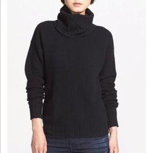 Theory Navy Lanola 100% Cashmere Turtle Sweater